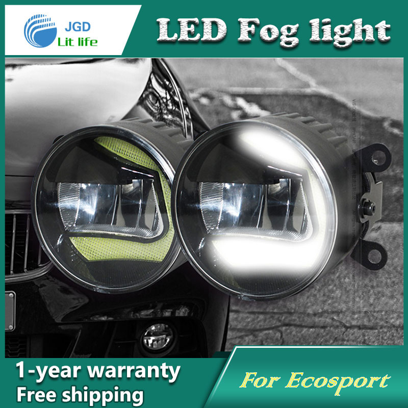 Super White LED Daytime Running Lights case For Ford Ecosport Drl Light Bar Parking Car Fog Lights 12V DC Head Lamp high quality 12v 6000k led drl daytime running light case for ford ecosport 2013 2014 fog lamp frame fog light super white
