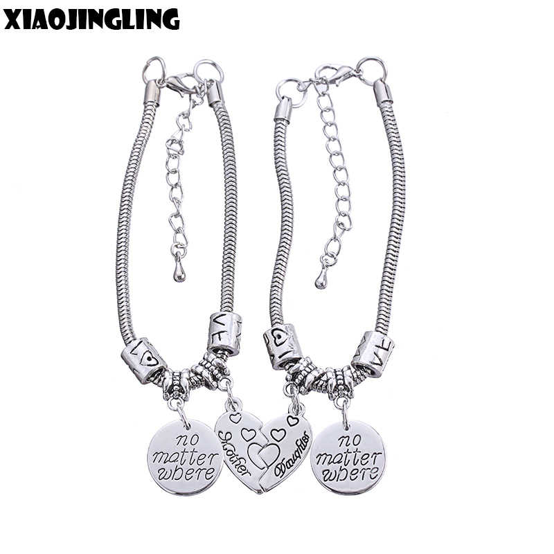 XIAOJINGLING 2Pcs Broken Love Heart Bracelet Charm Fashion Women Jewelry Allloy Snake Chain Bracelets 'Mother Daughter' Gifts