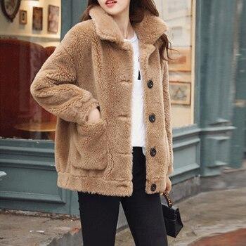 mitad de descuento 308c6 22cd2 Abrigo de piel sintética para mujer Otoño Invierno chaqueta de peluche  mullida abrigo de talla grande abrigo corto manga femenina