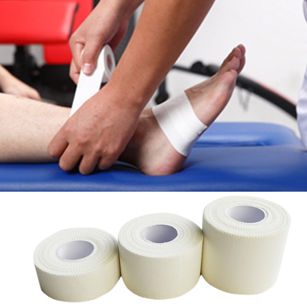 10M 12.5/25/38mm Cotton White Medical Premium Adhesive Tape <font><b>Sport</b></font> Binding Physio Muscle Elastic Bandage Strain <font><b>Injury</b></font> Support image