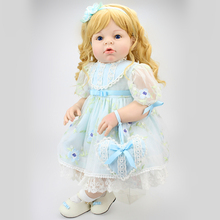 28 inch Realistic Toddler Reborn Dolls with Blonde Wig and High Quality Princess Toy Doll Dress Gift for sale