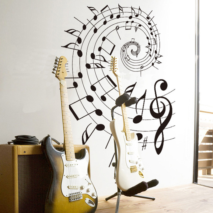 New Design Fashion Creative Music Theme Home Decoration Wall Stickers Musical Note Staff Wallpaper Bedroom Decals