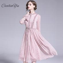 Spring And Summer Dress 2019 New Plus Size Maxi/Office/Vintage/Chiffon/Elengant Dresses Womens Casual Wear Ceciliayu
