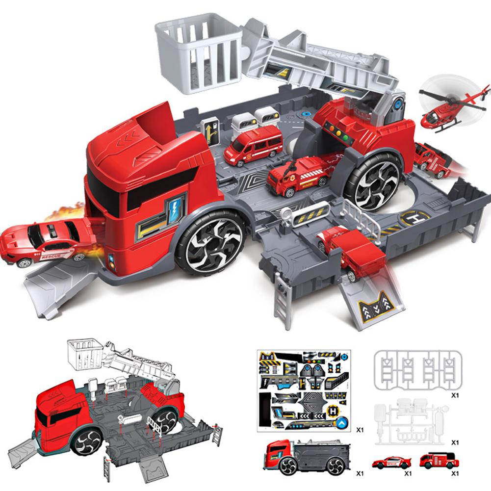 HobbyLane Children Kid Simulation Fire Truck Engineering Vehicle Parking Lot Car Storage Mock Car Park Educational Pull-back Car