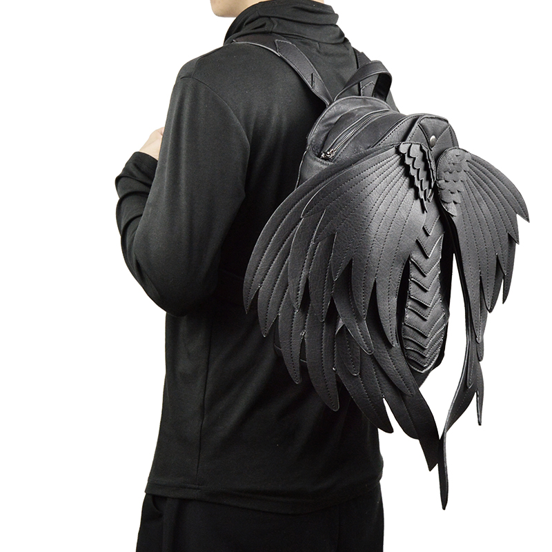 New Punk Wings Leather Backpack Gothic Women Men Black Ghost Monster Vampire Retro Back Pack Steampunk Fashion Travel Casual Bag 1