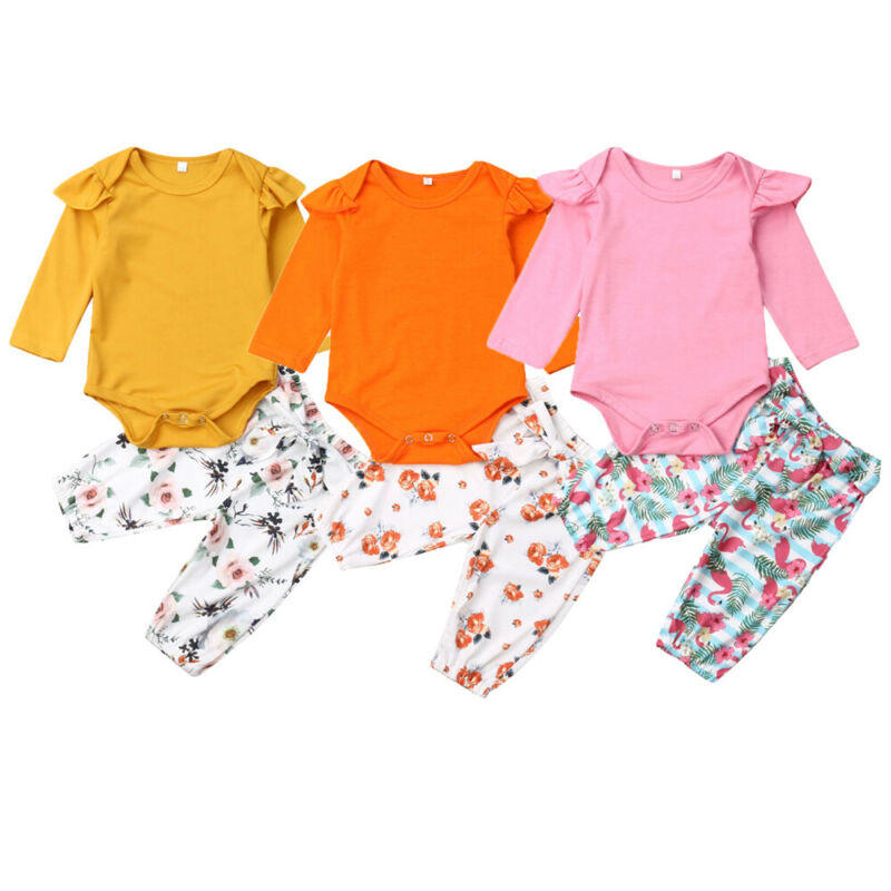 2019 <font><b>Newborn</b></font> <font><b>Baby</b></font> <font><b>Girls</b></font> Sets <font><b>Autumn</b></font> Spring <font><b>Clothes</b></font> 2Pcs Long Sleeve Romper Flamingo Flower Print Harem Pants <font><b>Girl</b></font> Outfits 0-24M image