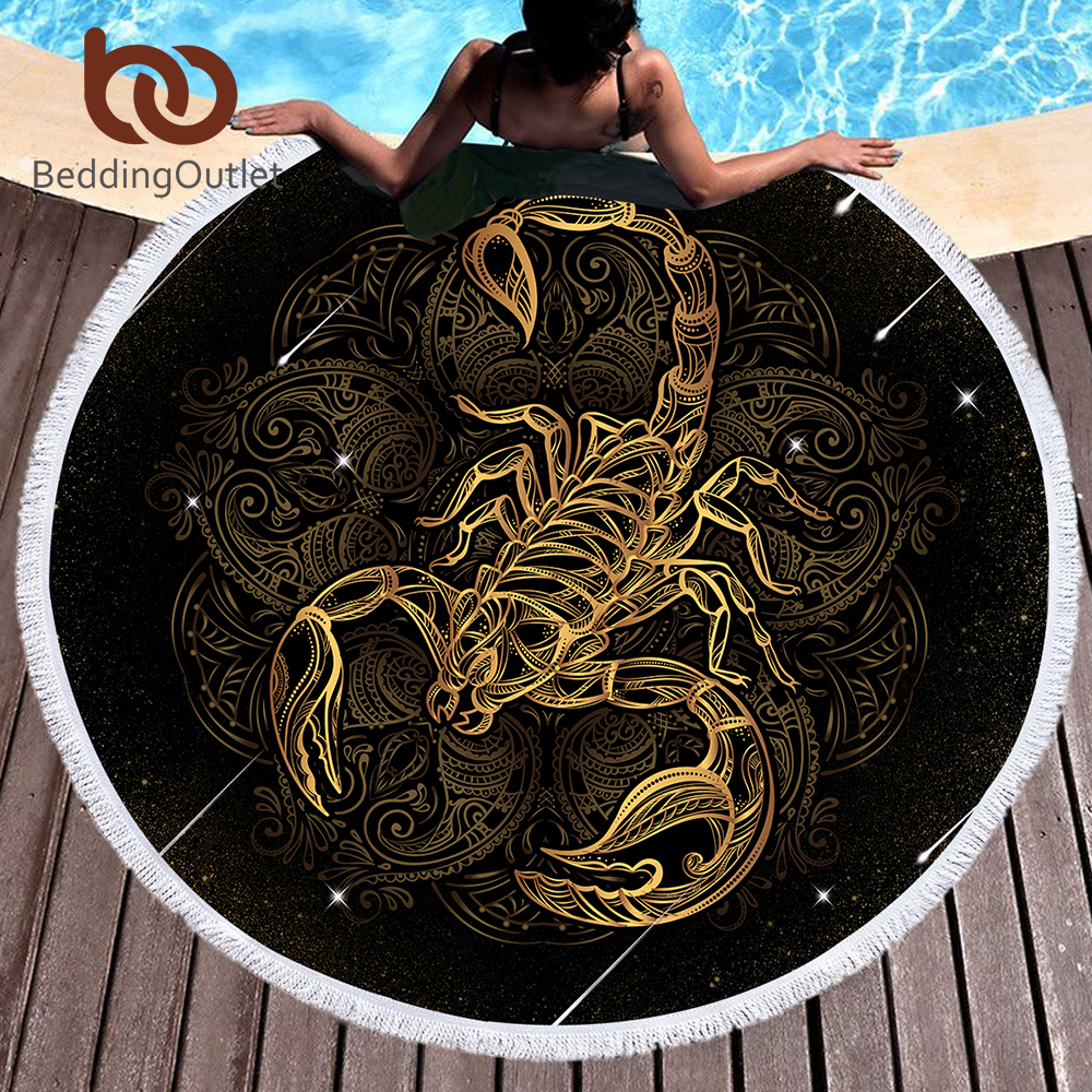 BeddingOutlet Mikrofaser Bad Handtuch Runde Strand Handtuch für Erwachsene Sommer Sonnencreme Toalla Skorpion Gedruckt Quaste Tapisserie 150 cm
