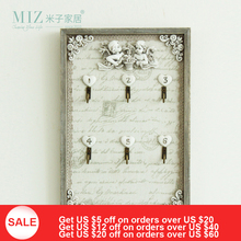 Miz Home 20*30 cm Vintage Style Original Design Wooden Resin Decorative Key Storage Box Decor Wall Holder Hooks