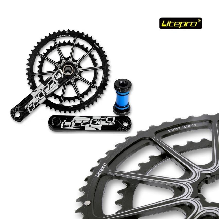 цена на Folding Bike Edge Hollow Crankset Bottom Bracket Chainring 34T 50T 52T 53T 56T 58T 130BCD Crank 170mm 172.5mm Chainwheel Set