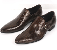 Large size EUR45 brown tan/ black serpentine buckle loafers mens business shoes genuine leather dress shoes mens wedding shoes