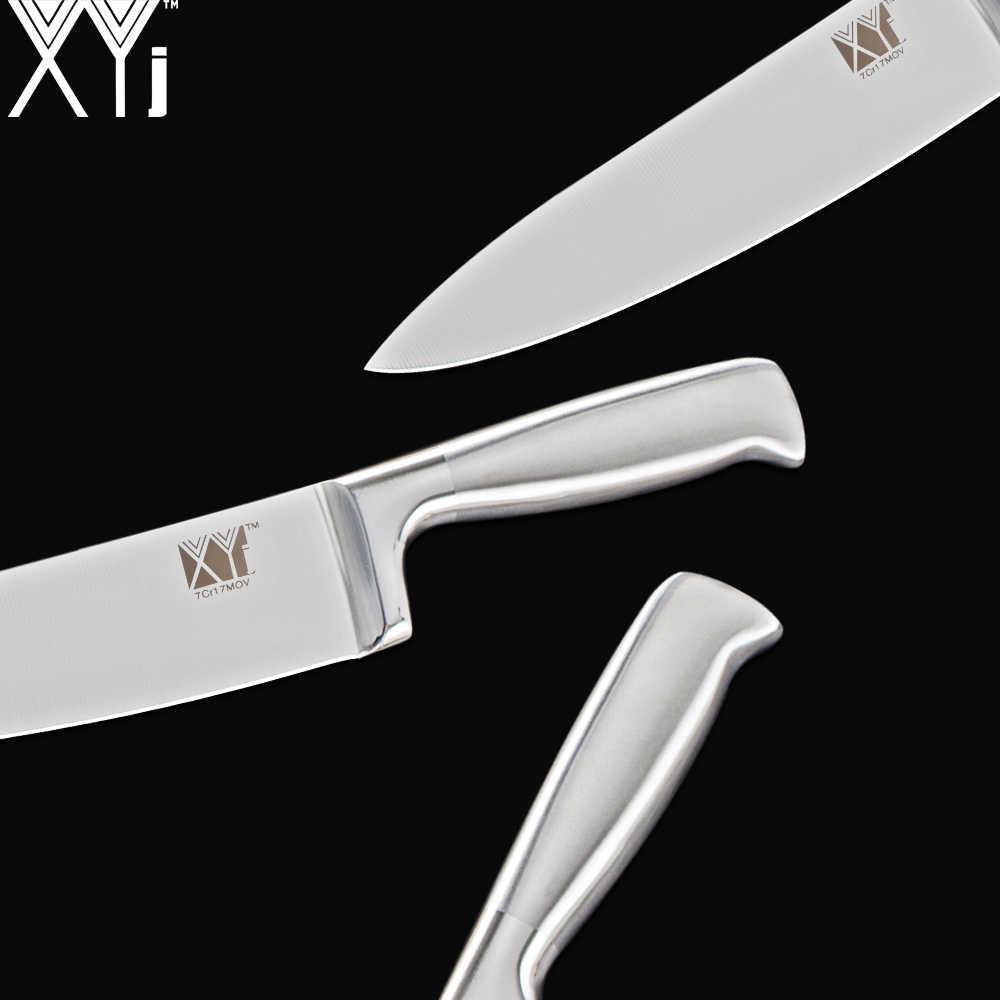 XYJ набор кухонных ножей из нержавеющей стали, нож шеф-повара, Япония и 8 дюймов, многоцелевой нож, держатель и точилка, набор кухонных инструментов из 8 предметов