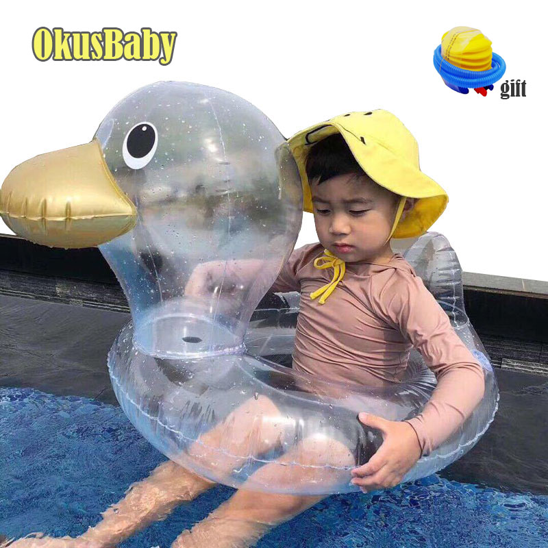 2019 Summer Inflatable Transparent Baby Swim Ring Floate Cartoon Duck Toys Bath Water Toy Pool Rafts Size For Children Free Pump