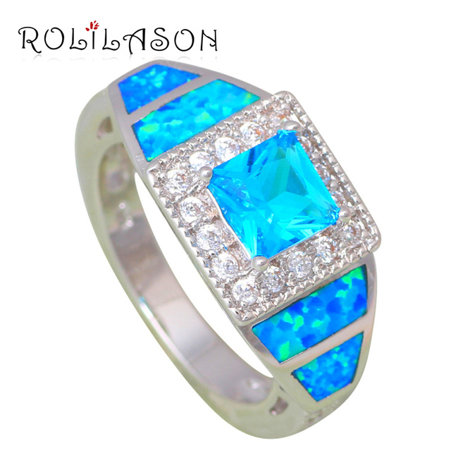 Birthday Gifts For Women Square Blue Zircon Silver Stamped Fashion Jewelry Fire Opal Rings USA