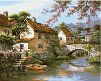 2016 40x50 by numbers Land of idyllic beauty Frameless wall decor diy painting hand painted canvas painting for living room