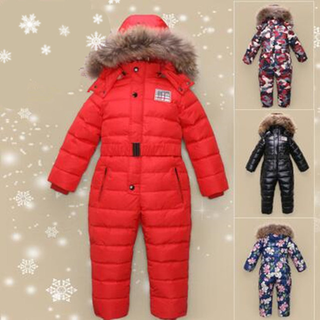 Outdoor wear Kids ski suit children down rompers with genuine fur hood warm boys girls winter jumpsuits for -30 degree 4-8 years