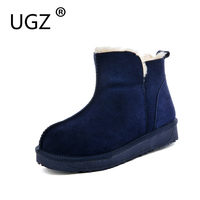 UGZ Winter Boots Women Casual Flat Ankle Snow Boots Cow Suede Round Toe Cotton Shoes Chestnut