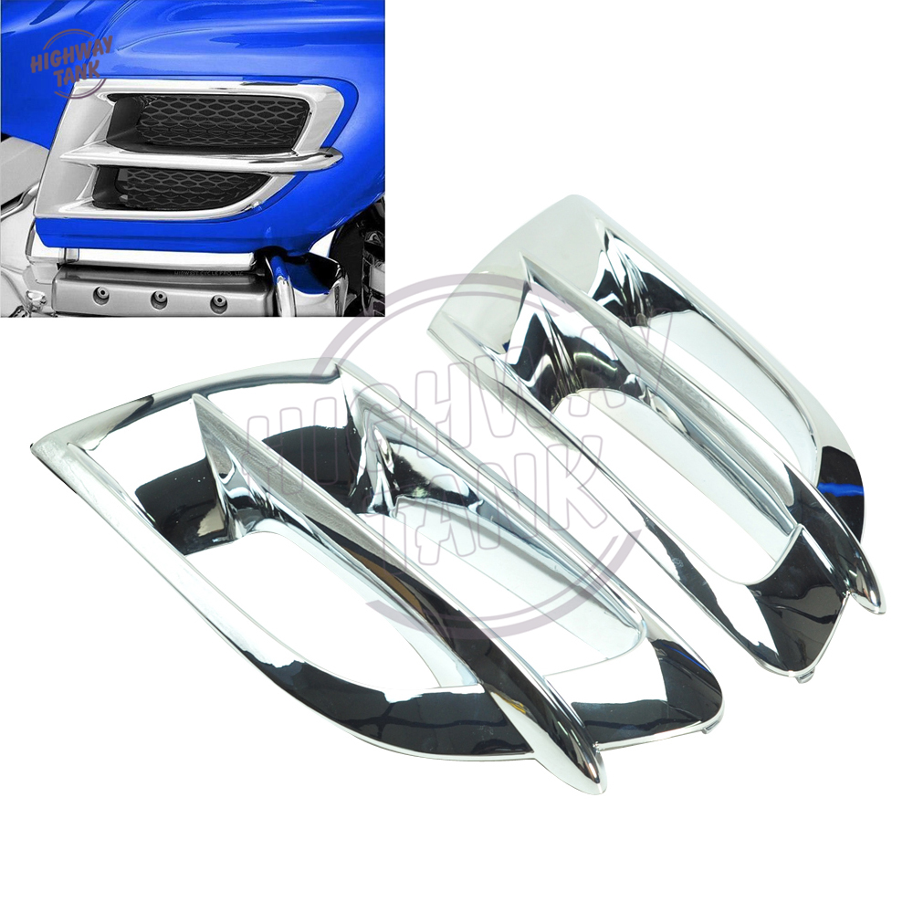 Chrome Motorcycle Side Fairing Accents Cooling Trim Case for Honda Goldwing GL1800 2001-2010 chrome motorcycle front fairing headlight lower grill case for honda goldwing 1800 gl1800 2001 2011