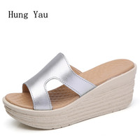 Women Sandals 2017 Summer Genuine Leather Shoes Woman Flip Flops Wedges Fashion Platform Female Slides Ladies