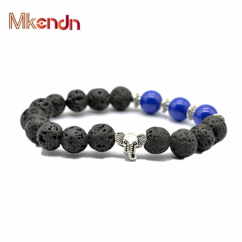 MKENDN Switch luck Lava Stone Beads Elephant Bracelets Yoga Reiki Prayer Man  Women Bracelet National Style Thai Jewelry