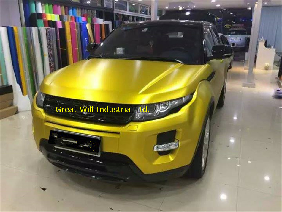 Gold Satin Chrome Vinyl Wrap Film Gold Matte Chrome Vinyl Car Wrap Cover Styling Air Bubble Free Famewill Size 1.52x20m/Roll