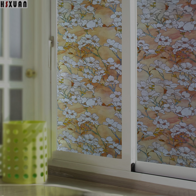 frosted window film sunscreen 45x100cm pvc flower decorative self adhesive living room glass stained static stickers - Frosted Window Film