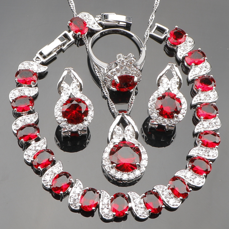 Luxury Red Zirconia Bridal 925 Sterling Silver Jewelry Sets For Women Earrings Bracelet Ring Pendant Necklace Set Gift Box viennois new blue crystal fashion rhinestone pendant earrings ring bracelet and long necklace sets for women jewelry sets