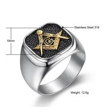 Support Dropship Size 7-15 Golden Punk Ring 316L Stainless Steel Popular Band Party Cool Ring