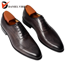 Mens Oxford Brogue Dress Wedding Leather Shoes Manual Grey Color Mid Heel Formal Italian Style Novelty Office Formal Casual Shoe