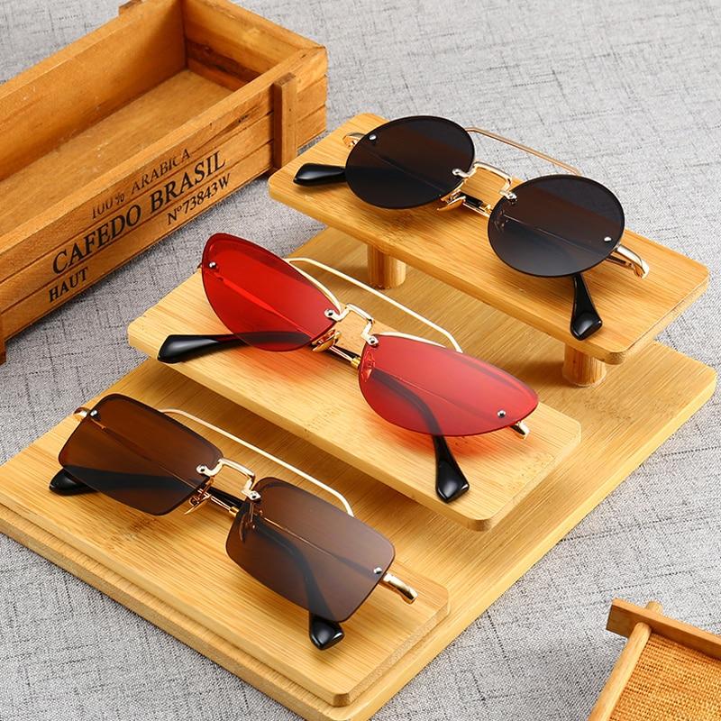 Kattögon smala solglasögon för kvinnor Vintage Design Rimless - Kläder tillbehör - Foto 5