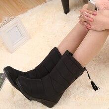 Для женщин Сапоги и ботинки для девочек женские Водонепроницаемый кисточкой зимние сапоги низкие зимние сапоги женская обувь Обувь на теплом меху botas mujer Эластичная лента