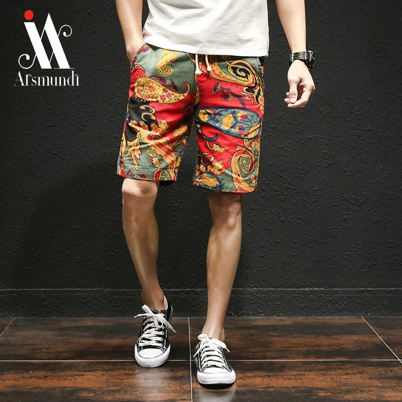 2019 New Summer New  Casual Shorts Loose Men's Black Printed Streetwear Waist Bermuda Shorts Men  Beach Pants