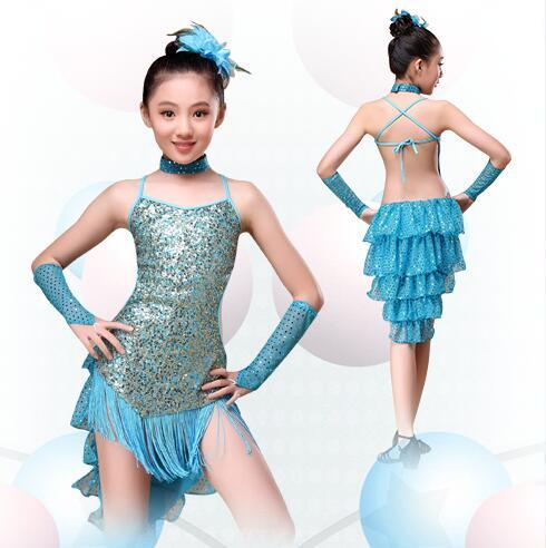 8-16 Years Children Dance Outfit with Sleeves Sequins Latin Dresses for Girls Backless Fringe Ballroom Latin Dress for Girls