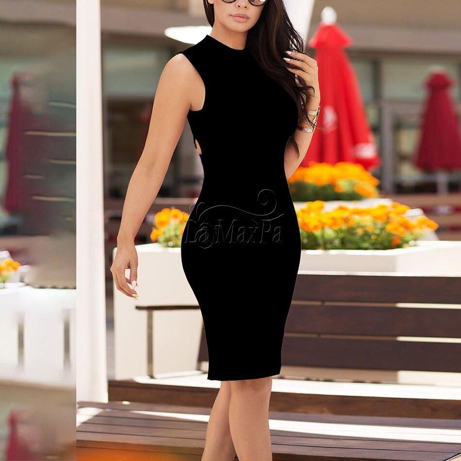 Soirée Sans Manches Sexy Moulante Roulé Femmes Col Noir Rouge Bandage Robe Évider Blanc Nouvelles Robes D'été De 2017 wOXn0Pk8