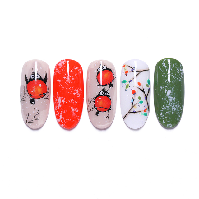 3D Nail Stickers Adhesive Transfer Sticker Cute Red Birds Animals Design Accessories Nail Art Decals Slider Decorations Tools