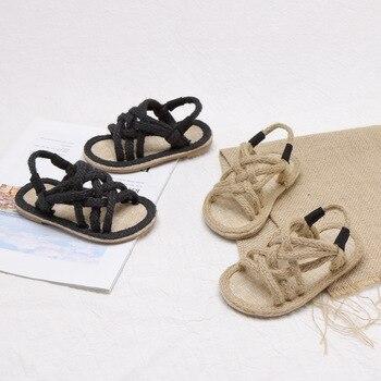 Filles sandales enfants Gladiador Jute Sandalia 2019 été confortable sandales plate-forme plat enfants mode sandales de plage décontractées