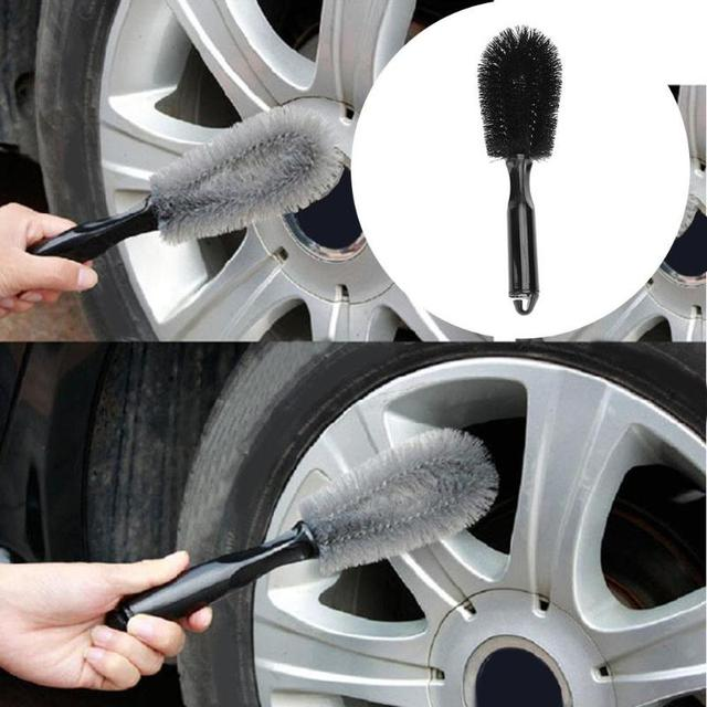 1Pcs Vehicle Wheel Brush Washing Car Tire Rim Cleaning Handle Brush Tool for Car Truck Motorcycle Bicycle Auto Car Brush Tool