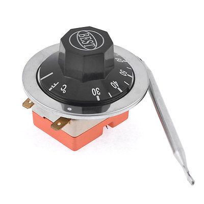 AC 250V 16A 30-80 Celsius Thermostat Temperature Controller w 28.3 Capillary ac 250v 20a normal close 60c temperature control switch bimetal thermostat