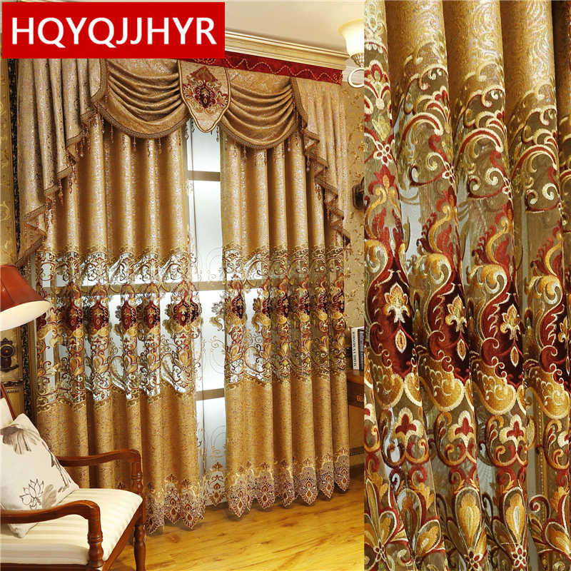 European and American Style Royal Gold Luxury curtains for Living Room window curtain Bedroom Window curtain kitchen/Hotel
