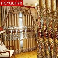 Estilo europeo y americano oro real cortinas de lujo para sala de estar ventana cortina dormitorio ventana cocina/Hotel