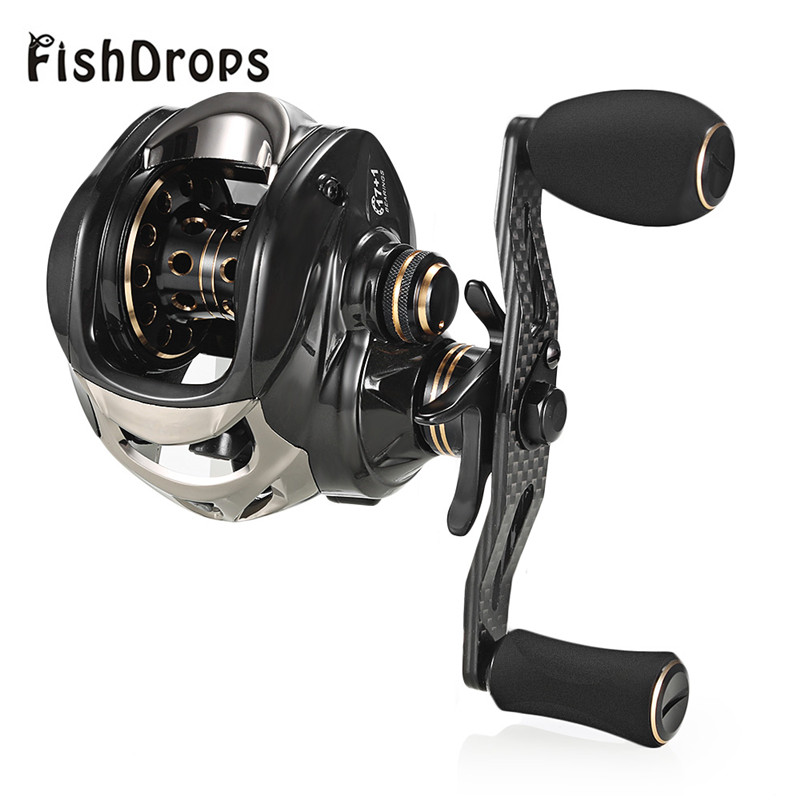 Fishdrops Bait casting Reel 17+1 Ball Bearing Carp Fishing Left/Right Hand Bait 7.2:1 Carbon Fiber Fishing Wheel carretilha ts1200 fishing reels right left hand bait casting fishing reel lure reel pro 14 ball bearings fishing gear water drop wheel