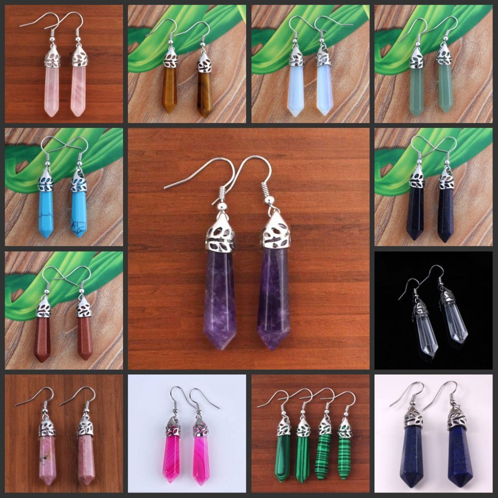 Kraft-perler Trendy Silver Plated Multi Style Quartz Stone Hexagon Column Quartz Earrings Designs Smykker