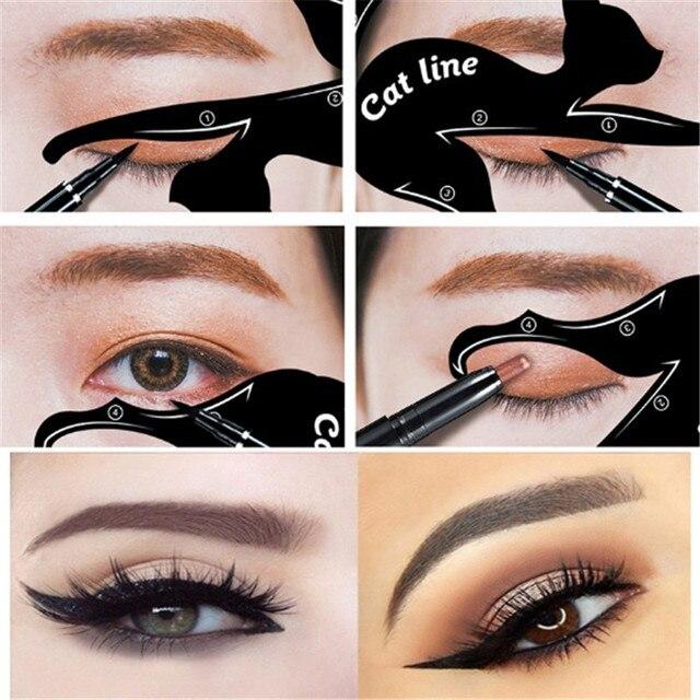 Populares 2 Linha Pçs/set Novo Gato Olho Delineador Maquiagem Stencils  JR78