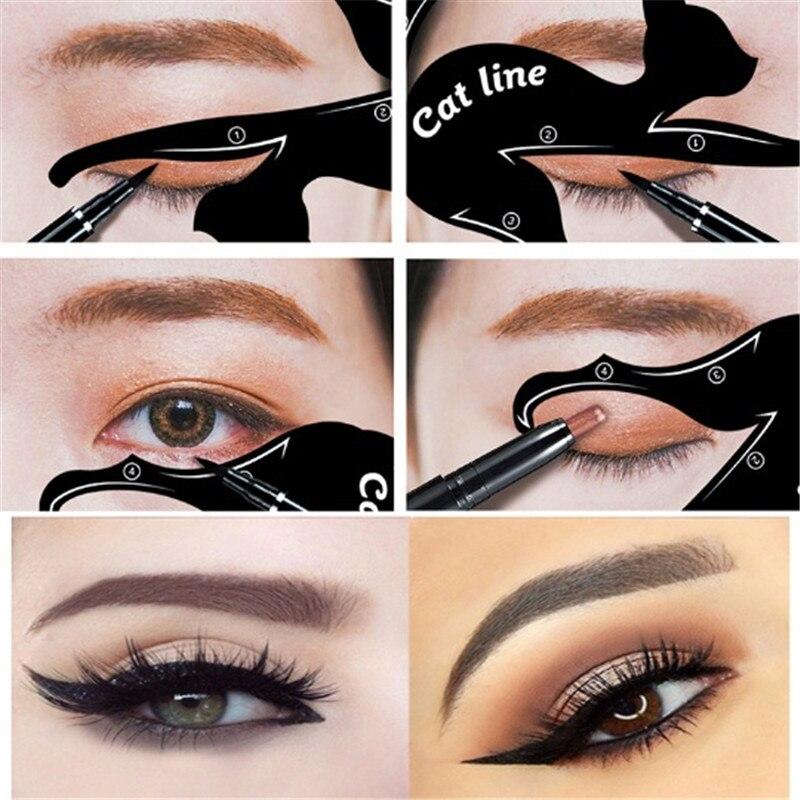 Kongqiabona-UK Professional Multifunction Cat Eye Tail Eyeliner Stencil Eyeliner Stencil Template Shaping Tools Eyebrows Template Card
