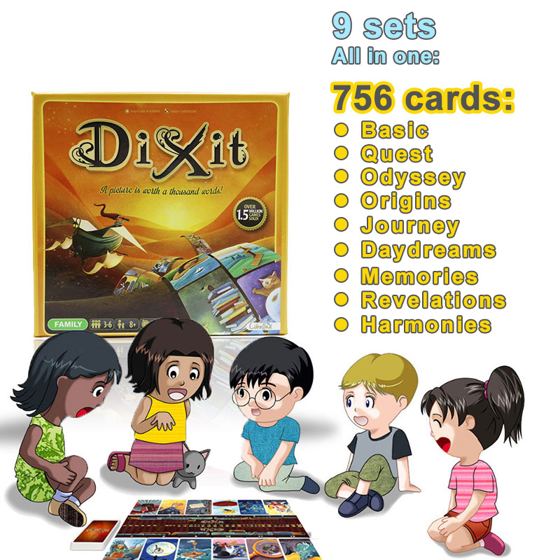 English & Russian Version Dixit 1 2 3 4 5 6 7 8 9 Board Game 12 Players Total 756 Playing Cards For Kids Home Party Cards Game