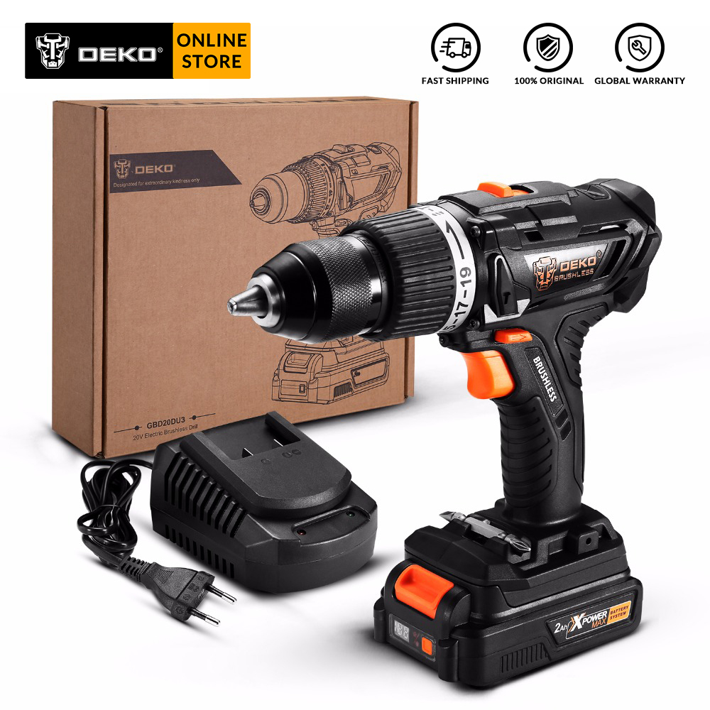 DEKO GBD20DU3 20V Max DIY Brushless Electric Impact Drill Cordless Screwdriver Lithium-Ion Battery 2 Speed 58Nm For Woodworking