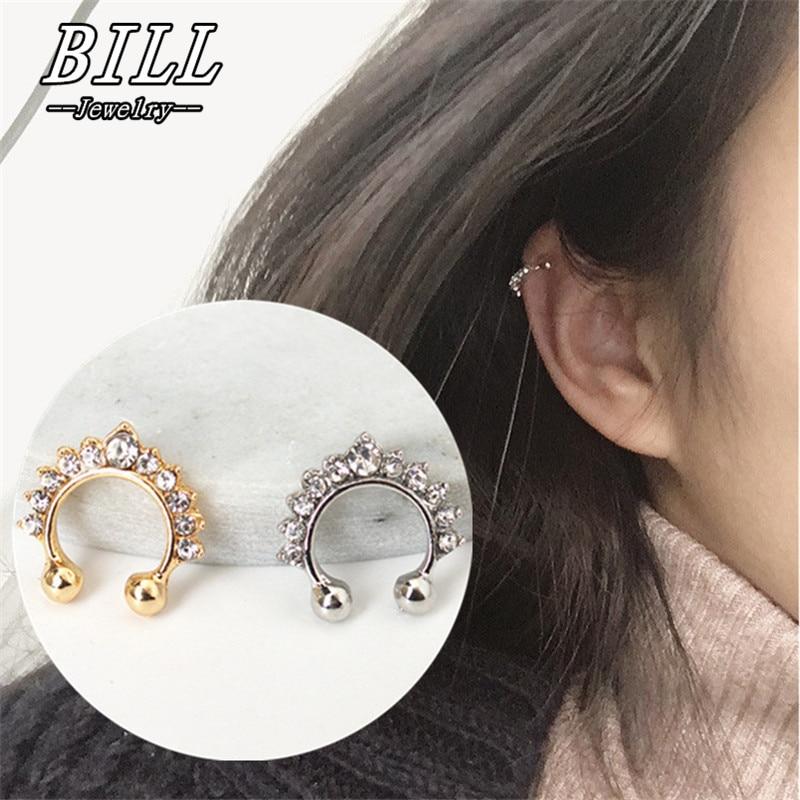Clip Earrings Crown Non-Pierced U-Shaped Jewelry Crystal Women Fashion ES165 Bijoux Brincos