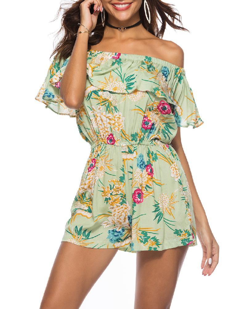 mrwonder Women Sexy Boat Neck Collar Ruffle Jumpsuit Shorts Summer Fashion Printing Romper Shorts