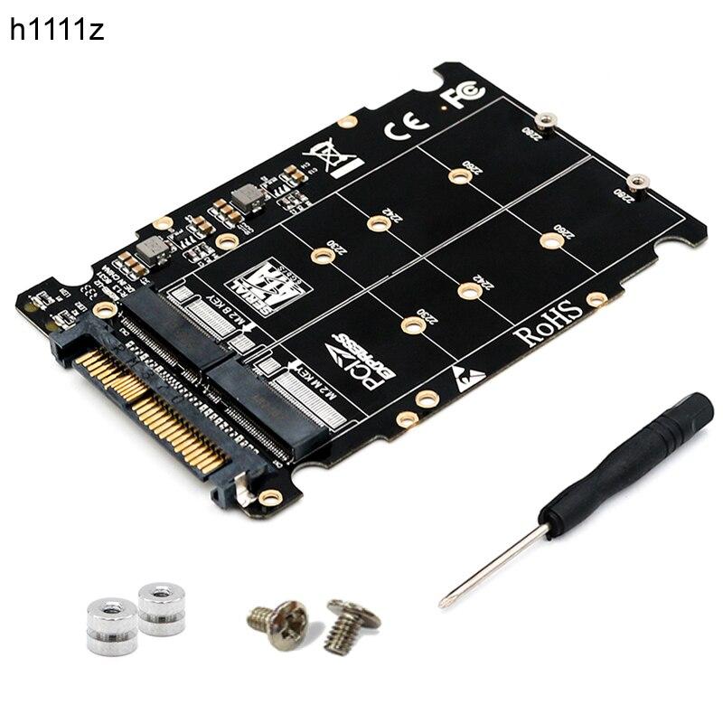 Adaptateur M.2 SSD vers U.2 2in1 M.2 NVMe et SATA-Bus NGFF SSD vers PCI-e U.2 adaptateur SFF-8639 convertisseur PCIe M2 pour ordinateurs de bureau