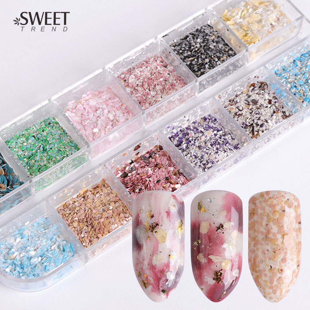 1 set 12 Grid Colorful Marble Irregular Nail Sequins 3d Fine Nail Glitter Powder Manicure Flakes Paillette Nail Decoration LA546-in Nail Glitter from Beauty & Health