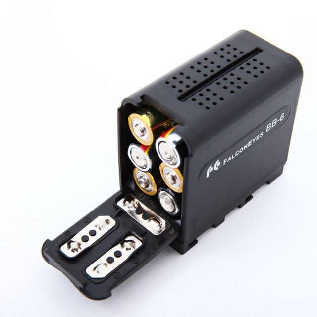 6pcs AA Battery Case Pack Power as NP-F970 for LED VIDEO LIGHT Panels or Monitor